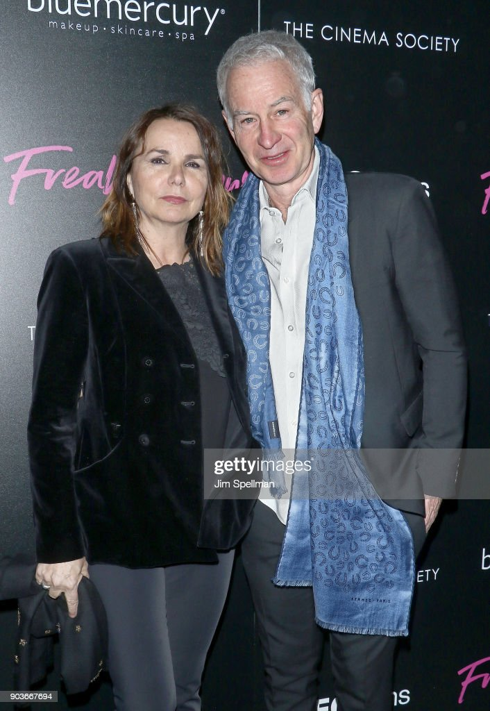 Singer Patty Smyth and John McEnroe attend the premiere of IFC Films' 'Freak Show' hosted by The Cinema Society and Bluemercury at Landmark Sunshine Cinema on January 10, 2018 in New York City.