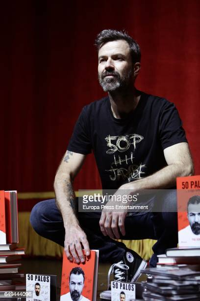 Singer Pau Dones of 'Jarabe de palo' presents new album book and tour '50 Palos' at Alcala Theater on March 7 2017 in Madrid Spain