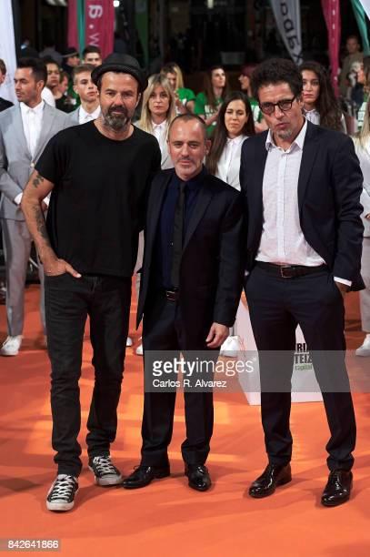 Singer Pau Dones Spanish actor Javier Gutierrez and producer Daniel Ecija attend 'Estoy Vivo' premiere during the FesTVal 2017 at the Principal...