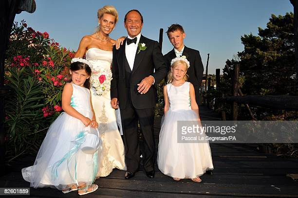 ACCESS*** Singer Paul Anka and Anna Anka pose with Tilda Lilja and Elli during their wedding at Hotel Cala di Volpe on July 26 2008 in Porto Cervo...