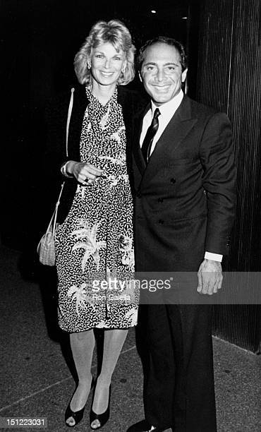 Singer Paul Anka and wife Anne DeZogheb being photoraphed on July 4 1984 at Elaine's Restaurant in New York City New York