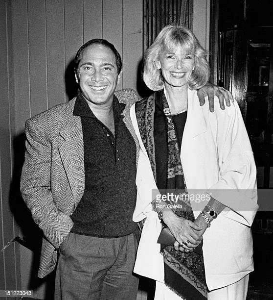 Singer Paul Anka and wife Anne DeZogheb being photoraphed on October 26 1987 at The Knickerbocker Jazz Club in New York City New York