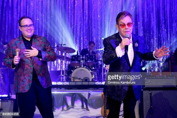 Singer Paul Janeway of St Paul and The Broken Bones and host Sir Elton John perform during the 25th Annual Elton John AIDS Foundation's Academy...
