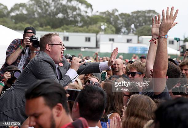 Singer Paul Janeway of St Paul and the Broken Bones performs at the Lands End Stage during day 3 of the 2015 Outside Lands Music And Arts Festival at...