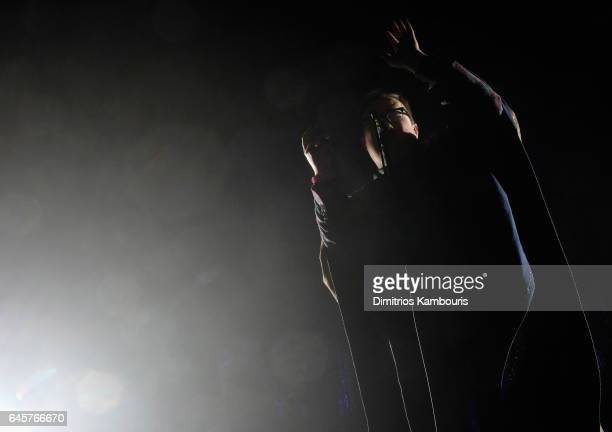 Singer Paul Janeway of St Paul and The Broken Bones performs during the 25th Annual Elton John AIDS Foundation's Academy Awards Viewing Party at The...