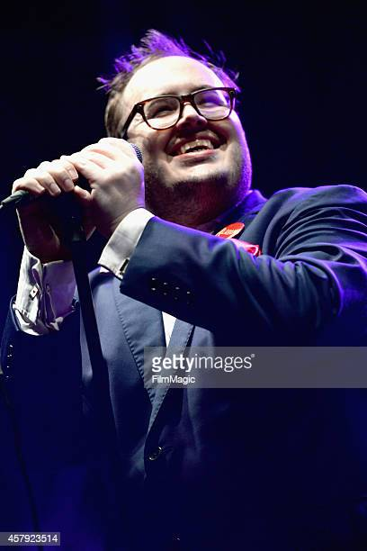 Singer Paul Janeway of St Paul and The Broken Bones performs onstage during day 3 of the 2014 Life is Beautiful festival on October 26 2014 in Las...