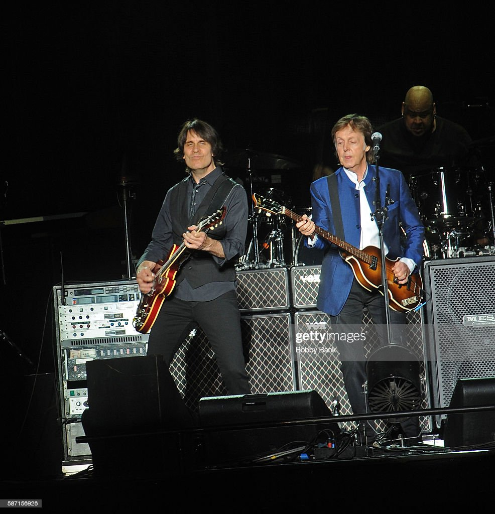 Singer Paul McCartney And Guitarist Rusty Anderson Perform From The One On Tour At MetLife