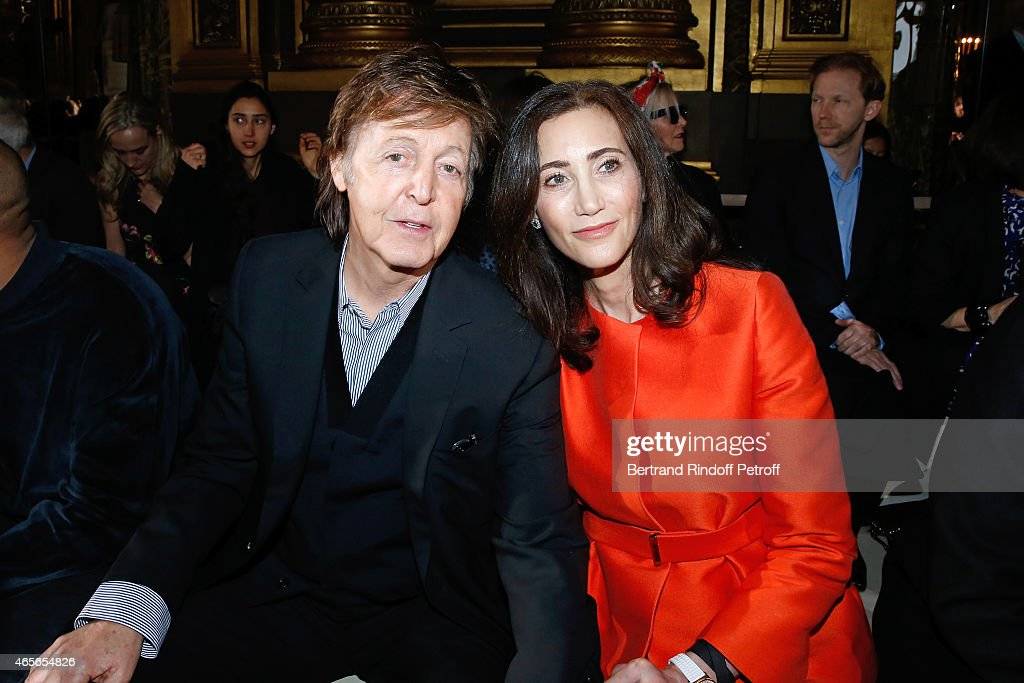 Singer Paul McCartney and his wife Nancy Shevell attend the Stella McCartney show as part of the Paris Fashion Week Womenswear Fall/Winter 2015/2016 on March 9, 2015 in Paris, France.