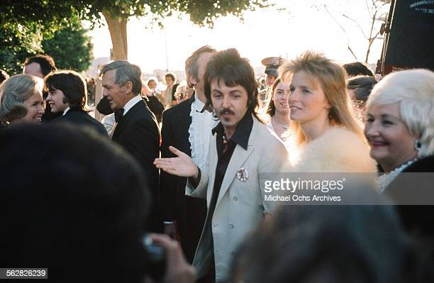 Singer Paul McCartney with his wife Linda McCartney arrive to the 46th Academy Awards at Dorothy Chandler Pavilion in Los AngelesCalifornia