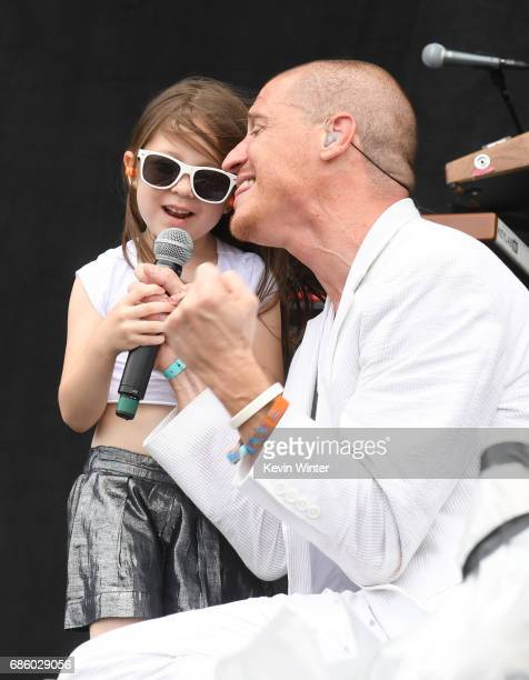 Singer Paul Meany and daughter Amelia Meany of Mutemath performs at the Hangout Stage during 2017 Hangout Music Festival on May 20 2017 in Gulf...