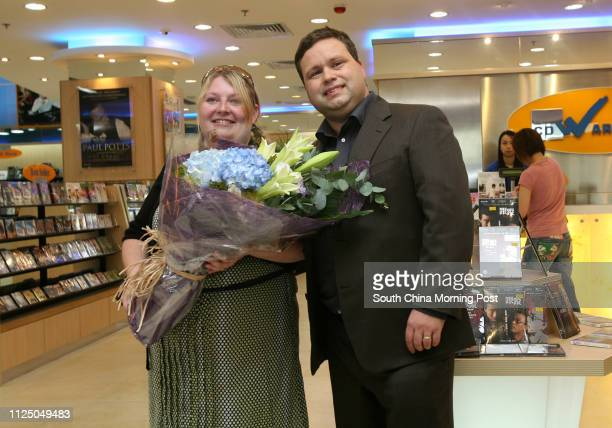 UK singer Paul Potts and his wife Julie Ann at Langham Place in Mongkok 21 August 2007