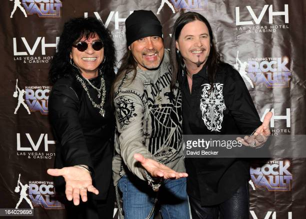 Singer Paul Shortino television personality Danny The Count Koker and singer John Payne arrive at the grand opening of Raiding the Rock Vault at the...