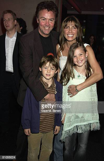 Singer Paul Young with his wife Stacey and their children Layla and Grady attend the afterparty following the UK film premiere of 'SpiderMan 2' at...