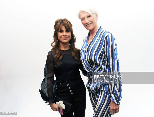 Singer Paula Abdul and model Maye Musk pose backstage at the Zero Maria Cornejo show during New York Fashion Week on September 11 2017 in New York...