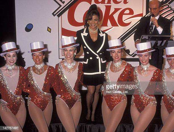 Singer Paula Abdul and the Radio City Rockettes Salute Diet Coke's 10th Anniversary on July 23 1993 at Two Times Square Building 47th Street and...