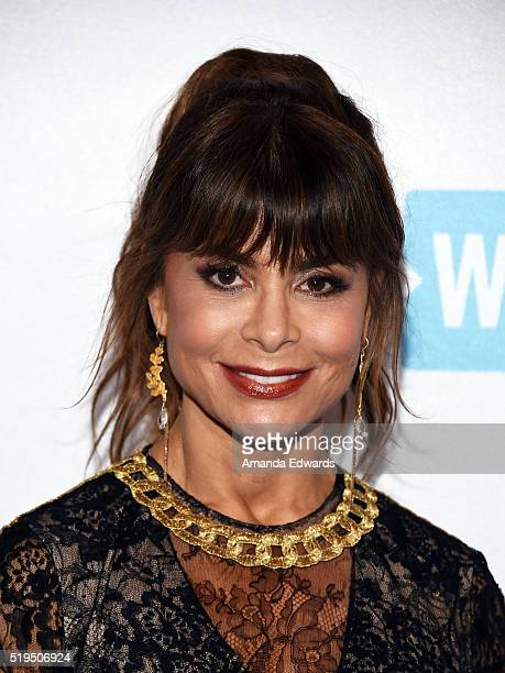 Singer Paula Abdul arrives at the WE Day celebration dinner at The Beverly Hilton Hotel on April 6 2016 in Beverly Hills California