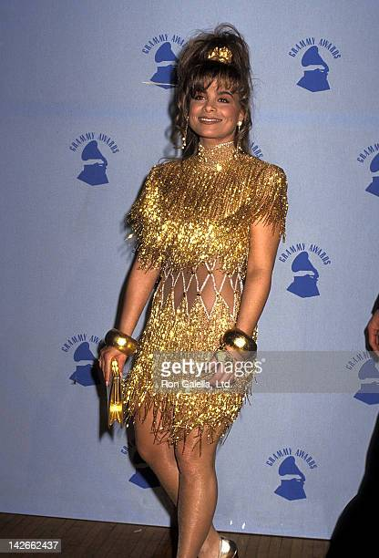 Singer Paula Abdul attends the 32nd Annual Grammy Awards on February 21 1990 at the Shrine Auditorium in Los Angeles California
