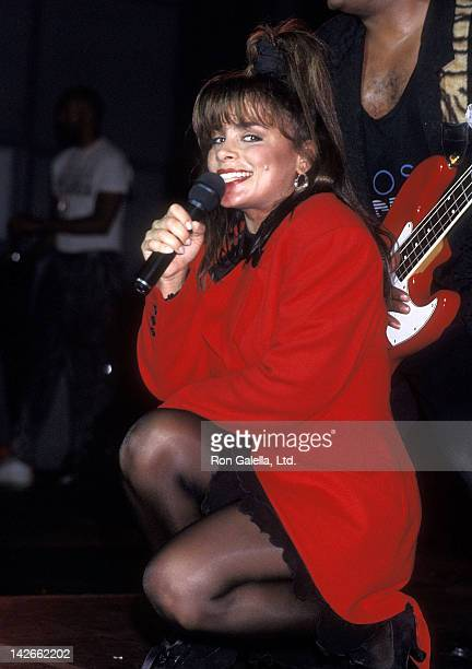 Singer Paula Abdul performs attend the Z100 WTZ Radio Station's Sixth Anniversary Celebration on August 2 1989 at the Palladium in New York City