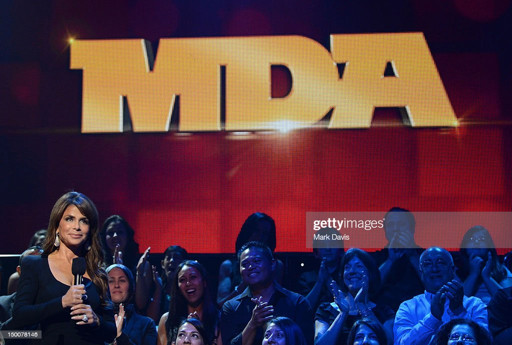 Singer Paula Abdul speaks to the audience at the MDA Show of Strength held at CBS Television City on August 8, 2012 in Los Angeles, California. The show airs on Sunday, September 2, 2012 at 8PM