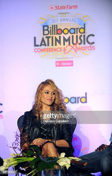 Singer Paulina Rubio attends a press conference for Western Union 'Returns The Love' at the Billboard Latin Music Conference Awards at Conrad San...