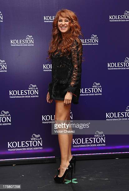Singer Paulina Rubio attends the Koleston campaign launch press conference on August 7 2013 in Mexico City Mexico