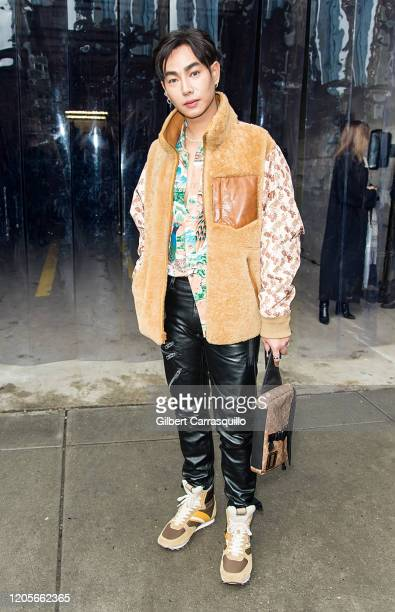 Singer Peck is seen leaving the Coach 1941 fashion show during New York Fashion Week on February 11, 2020 in New York City.