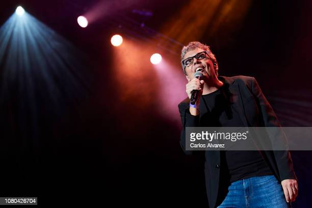 Singer Pedro Guerra performs on stage during the 'Animo Animal' tribute concert to Eduardo Aute at the WiZink center on December 10 2018 in Madrid...