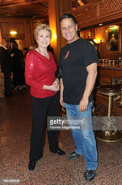 Singer Peggy March and Ali Khan attend the presentation of Manfred Baumann New Calendar 2014 at the King's Hotel Center on October 21 2013 in Munich...