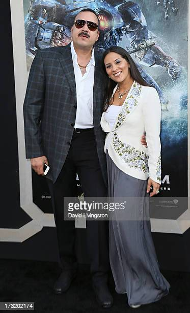 Singer Pepe Aguilar and wife Aneliz Aguilar attend the premiere of Warner Bros Pictures and Legendary Pictures' 'Pacific Rim' at the Dolby Theatre on...