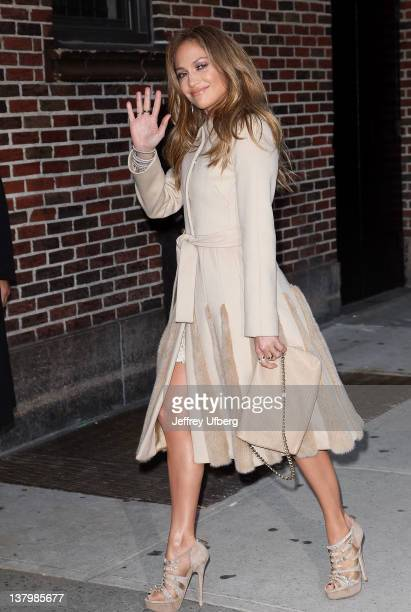 Singer / Performer / Television Personality Jennifer Lopez arrives to Late Show with David Letterman at Ed Sullivan Theater on January 30 2012 in New...