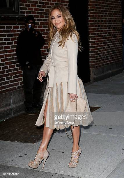 Singer / Performer / Television Personality Jennifer Lopez arrives to 'Late Show with David Letterman' at Ed Sullivan Theater on January 30 2012 in...