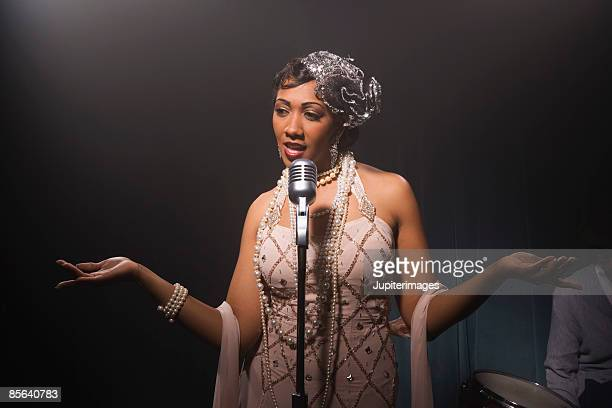 Singer performing in nightclub