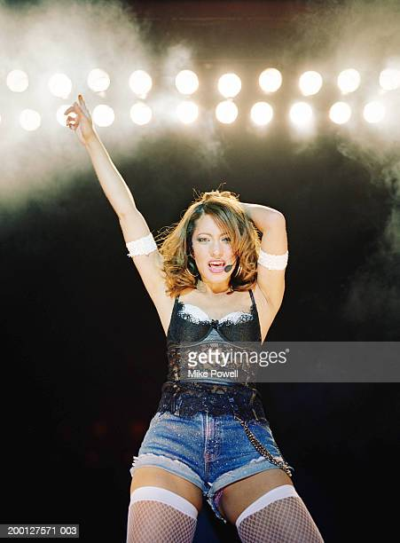 Singer Performing on stage, low angle