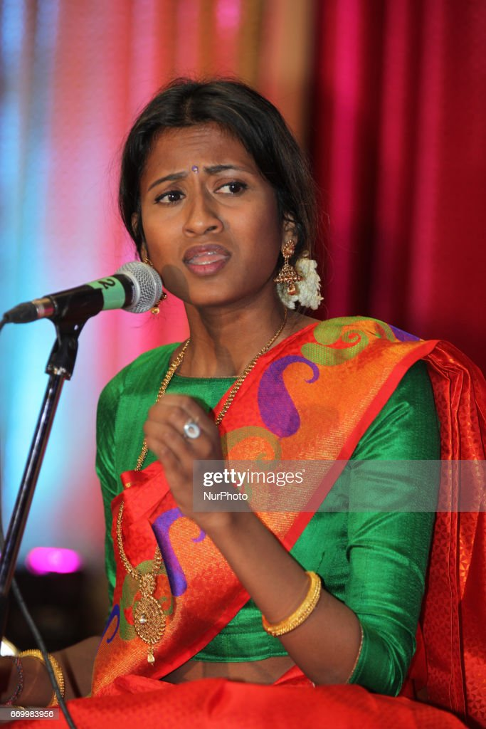 Singer performs a classical song in the traditional Carnatic