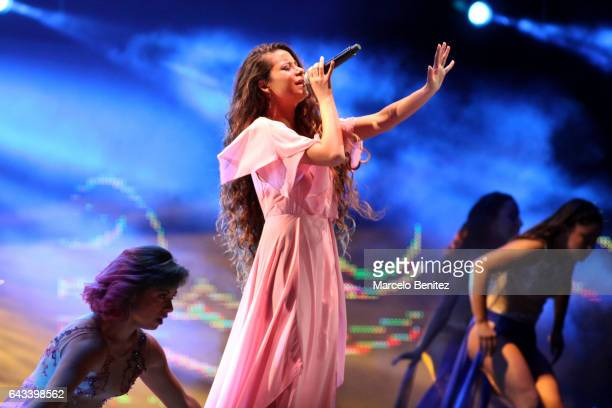 Singer performs at the opening ceremony in the memory of Violeta Parra at the stage of Quinta Vergara during Viña del Mar 58th International Song...