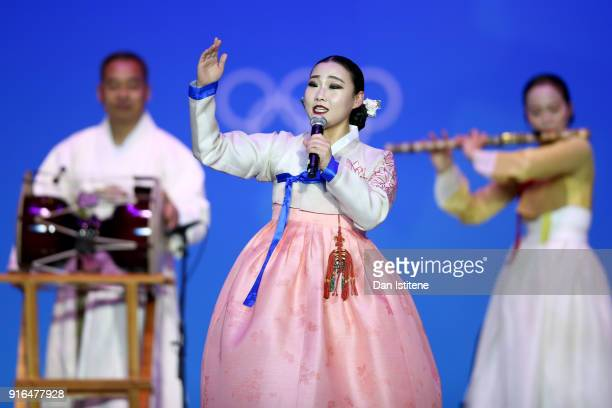 A singer performs before the Medal Ceremony for the CrossCountry Skiing Ladies' 75km 75km Skiathlon on day one of the PyeongChang 2018 Winter Olympic...