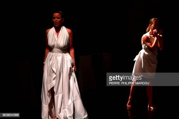 A singer performs during a rehearsal for 'Mount Olympus To glorify the cult of tragedy' by Belgian stage director Jan Fabre in Madrid on January 11...