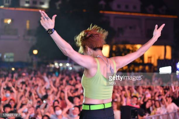 Singer performs during the EV Electronic Music Festival at the Happy Valley Shanghai on July 11, 2020 in Shanghai, China.