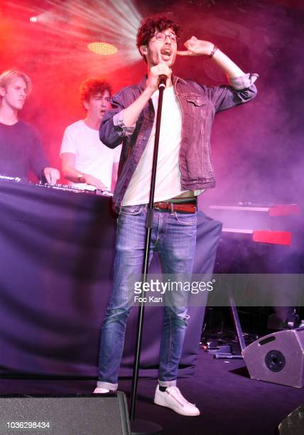 A singer performs during the Spritz Plazza Party at the 118 Warner on September 19 2018 in Paris France