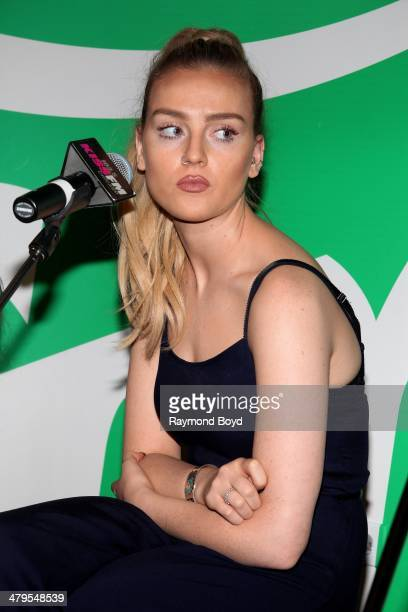 Singer Perrie Edwards of British girl group Little Mix performs in the 1035 KISS FM Sprite Lounge in Chicago Illinois on MARCH 14 2014