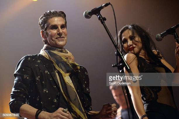 Singer Perry Farrell of Janes Addiction and Etty Lau Farrell perform onstage at The Fonda Theatre on February 9 2016 in Los Angeles California
