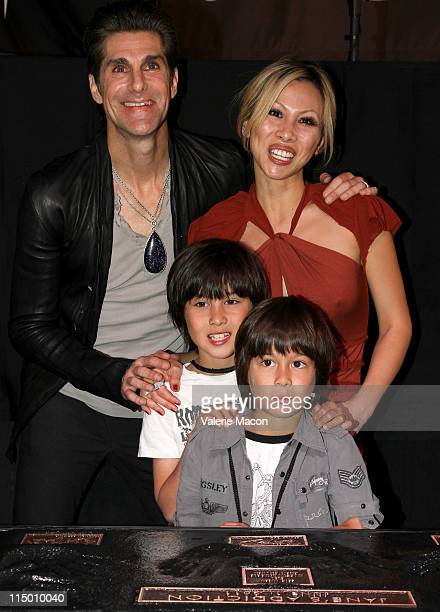 Singer Perry Farrell wife Etty Lau Farrell and sons Hezron Wolfgang Farrell and Izzadore Bravo Farrell attend the induction of Jane's Addiction into...