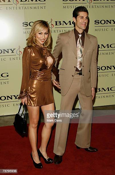 Singer Perry Ferrell and wife Etty Ferrell arrive at the Sony/BMG Grammy party held at the Beverly Hills Hotel on February 11 2007 in Beverly Hills...