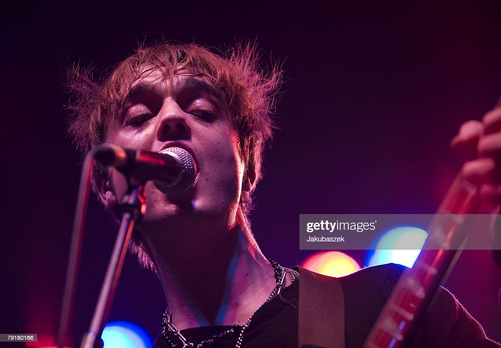 Singer Pete Doherty of the English indie band the Babyshambles performs live during a concert at the Columbiahalle on January 23, 2008 in Berlin, Germany. The concert is part of the 'Shotter's Nation Tour 2008'.