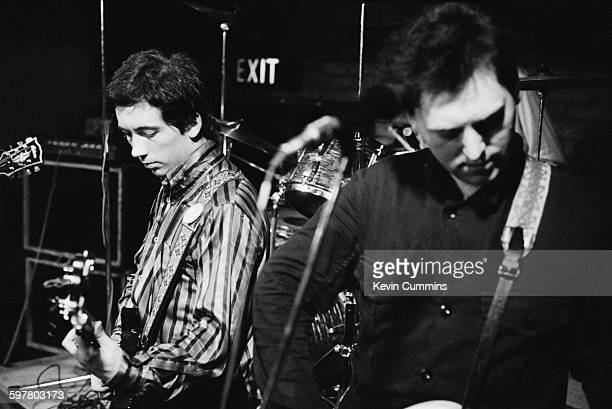 Singer Pete Shelley and bassist Garth Smith performing with English punk rock group Buzzcocks at Rafters nightclub Manchester 1st September 1977