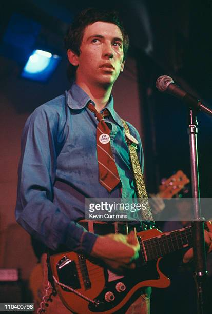 Singer Pete Shelley of British punk band Buzzcocks performing on stage at the Electric Circus in Manchester 1977