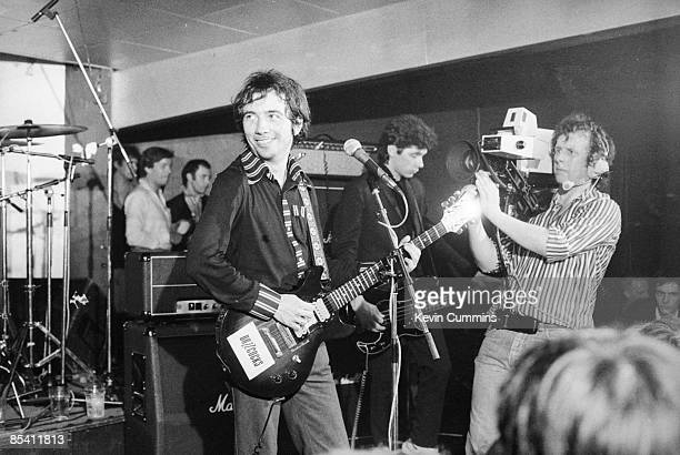 Singer Pete Shelley of English punk band The Buzzcocks at the Russell Club also known as The Factory Manchester 14th May 1979 Behind him is bassist...
