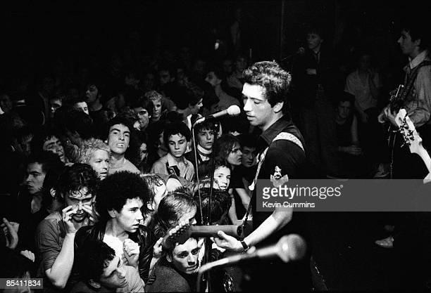 Singer Pete Shelley performing with English punk band The Buzzcocks at the Marquee Club London 4th August 1977