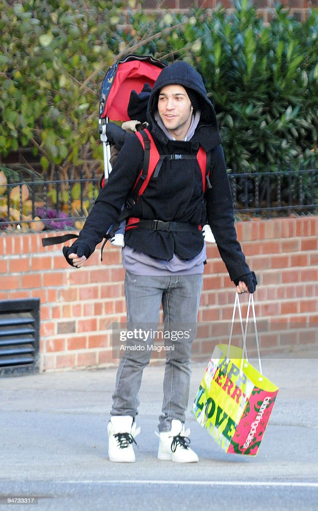 Singer Pete Wentz shops with his son Bronx Mowgli Wentz in midtown Manhattan December 17, 2009 in New York City.