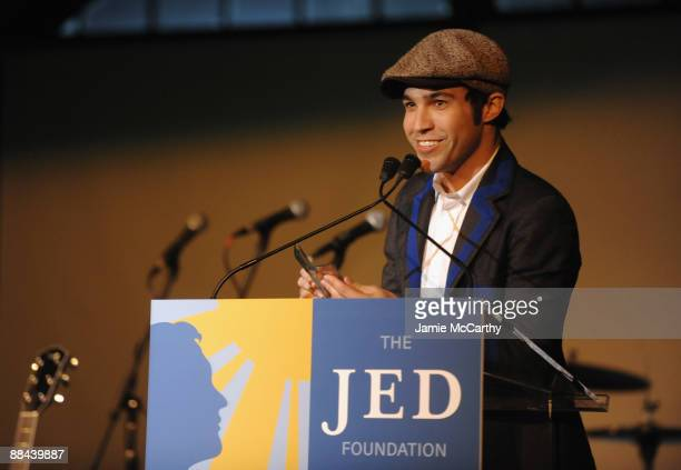 Singer Pete Wentz speaks on stage at the 8th Annual Jed Foundation Gala at Guastavino's on June 11 2009 in New York City